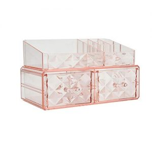 Makeup Organizer Acrylic Cosmetic Storage Drawers and Jewelry Display Box (2 square drawer)