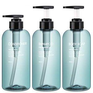 3pcs Shower Bottles, Segbeauty 16.9oz/500ml Liquid Soap Dispenser for Bathroom Refillable Plastic Pump Bottles for Body Soap Shampoo Conditioner Shower Gel Hotel Bathroom