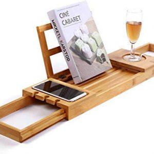Utoplike Bathtub Caddy Tray Shelf Across Tub, Bamboo Expandable Bath Tub Rack Holds Book Wine Glass Towel ipad Phone Food Tablet Soap for Bathroom Spa