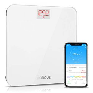Liorque Digital Body Weight Scale with Smartphone App Smart BMI Scale Digital Bathroom Wireless Weight Scale, Multiple Users, Sturdy Tempered Glass, 400 lb/180 kg - White