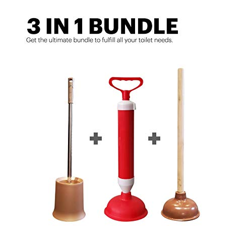 EverydaySolutions Toilet Bowl Plunger, Brush with Holder & High-Pressure Pump for Removing Heavy Duty Clogs, 3 in 1 Kit for Cleaning, Scrubbing, Unclogging Toilet Bowl & Bathroom Storage