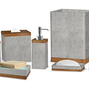 nu steel Concrete, Made of Cement Bath Accessory Set Vanity Countertop, 7pc Luxury Ensemble-Cotton Swab, Dish, Toothbrush Holder, soap Pump, Waste Basket, Tissue Box, Tray, Grey Stone/Brown