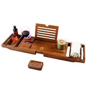 XcE Bathtub Caddy Tray (Brown)- Bamboo Wood Bath Tray and Bath Caddy for a Home Spa Experience