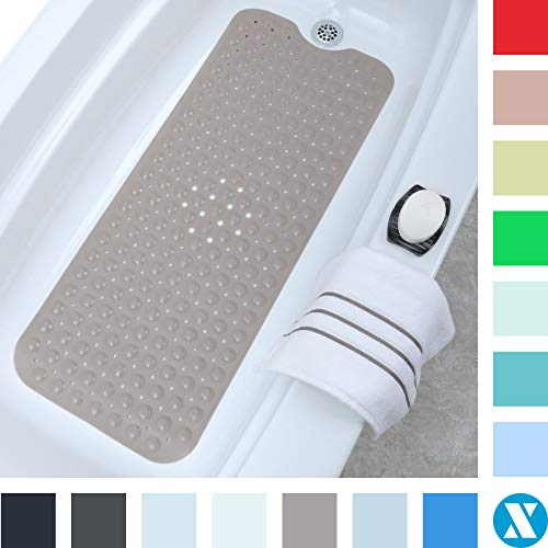 """SlipX Solutions Tan Extra Long Bath Mat Adds Non-Slip Traction to Tubs & Showers - 30% Longer Than Standard Mats! (200 Suction Cups, 39"""" Long Bathtub Mat)"""