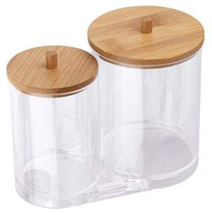 Tbestmax Cotton Swab Pads Holder, Cotton Buds Qtip Dispenser, Bathroom Jar Clear Organizer for Storage with Wood Lid
