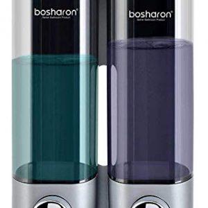 Bosharon Shampoo and Conditioner Dispenser for Shower Wall, Dual Shower Soap Dispenser for Bathroom, Kitchen, Hotels, Restaurants. Shower Soap Dispenser 300 ML (Silver 2 Chambers)