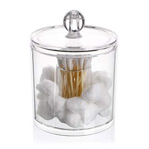 Hipewe Cotton Ball and Swab Organizer with Lid Apothecary Acrylic Jar Makeup Cotton Organizer Bathroom Storage Canister Jar for Cotton Rounds Pads Q-Tips Holder