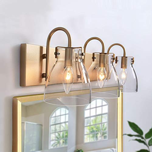 """KSANA Gold Vanity Light Fixture for Bathroom with Clear Glass Shades, 22"""" L, Brass Finish"""