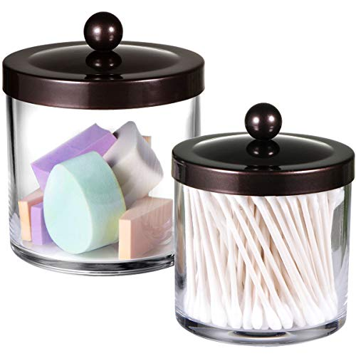 Premium Quality Plastic Apothecary Jars - Qtip Holder Bathroom Vanity Countertop Storage Organizer Canister Clear Acrylic for Cotton Swabs,Rounds, Balls,Makeup Sponges,Bath Salts / 2 Pack (Bronze)