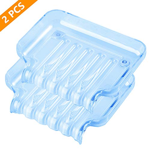 Waterfall Soap Dish with Drain - 2 Pack Soap Bar Holder, Decorative Plastic Soap Saver, Soap Case with Suction Cups for Bathroom Shower Kitchen (Not Punched) (Light Blue)