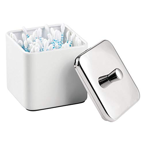 mDesign Square Metal Bathroom Vanity Countertop Storage Organizer Canister Apothecary Jar for Cotton Swabs, Rounds, Balls, Makeup Sponges, Blenders, Bath Salts - White/Chrome