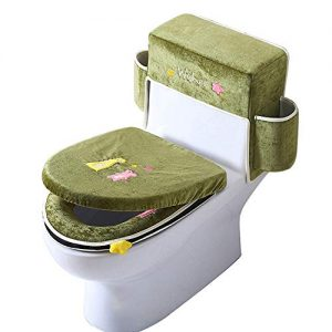 Toilet Seat Cover Cushion Three-Piece Washable Ice Silk Velvet Toilet Seats Soft and Thick Toilet Tank Cover Set Bathroom Toilet Tank Lid Cover with Handle,Green