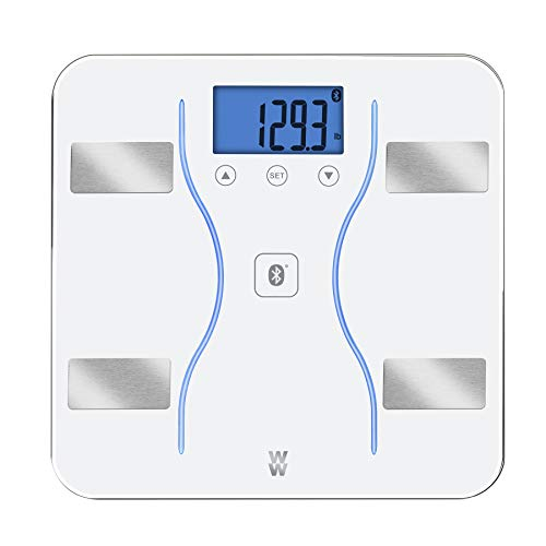 WW Scales by Conair Bluetooth Body Analysis Bathroom Scale - Measures Body Fat, Body Water, Bone Mass, Muscle Mass, BMI, 9 User Memory, 400 lb. Capacity, White
