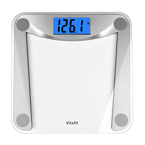 Vitafit Digital Body Weight Bathroom Scale Weighing Scale with Step-On Technology,Extra Large Blue Backlit Display, 400 Pounds,Clear Glass