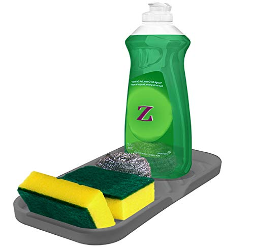 Sponge Holder for Kitchen Sink Organizer Tray [Newest Version with Drain Lip] Luxet Self Draining Sink Caddy For Dish Soap Dispenser Scrubber Brushes Bottle Dryer Kitchen Accessories Gadgets, Grey