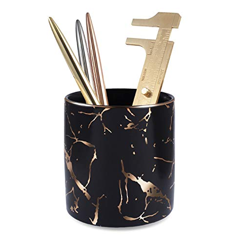 Zodaca Pen Holder, Ceramic Marble Pencil Cup Desk Organizer Makeup Brushes Holder with Gold Accent, Black Golden
