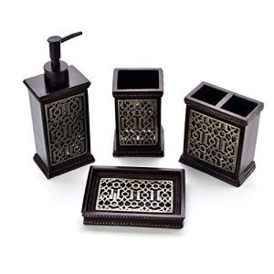 Zexzen Bathroom Accessories Set 4 Pcs, Resin Bathroom Decorative Countertop Kit with Lotion Soap Dispenser Dish Toothbrush Holder Tumbler Brown