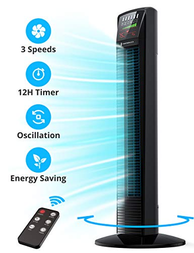 Tower Fan, TaoTronics Oscillating Fan Powerful Floor Fan with Remote & Large LED Display, 9 Modes, Easy Clean, Up to12H Timer Bladeless Standing Fan Portable for the Whole Room Home Office