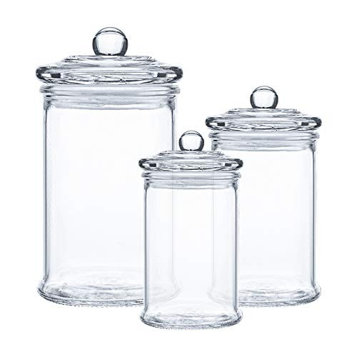 Suwimut Set of 3 Glass Apothecary Jars with Lids, Clear Canisters Set Bathroom Storage and Organization for Qtips, Cotton Swabs, Cotton Balls, Bath Salts