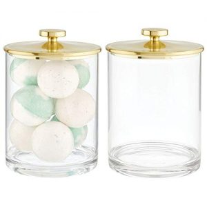 mDesign Modern Plastic Round Bathroom Vanity Countertop Storage Organizer Apothecary Canister Jar for Cotton Swabs, Rounds, Balls, Makeup Sponges, Bath Salts, 2 Pack - Clear/Soft Brass