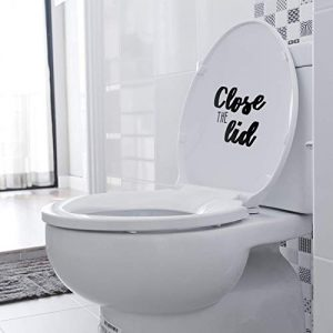 "Vinyl Wall Art Decal - Set of Flush The Toilet and Close The Lid - from 7"" to 8"" Each - Modern Humorous Useful Sign Sticker for Bathroom Daycare Restroom School Store Restaurant Decor"
