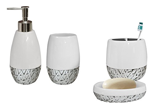 nu steel Bali Bathroom Accessories Set, 4 Piece Luxury Ensemble Includes Dish, Toothbrush Holder, Tumbler, soap and Lotion Pump, Resin, White/Chrome