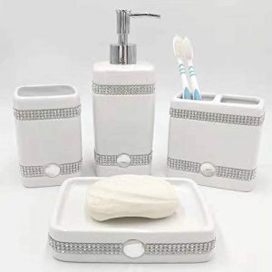 CAA'S Bathroom Accessories Set Ceramic 4 Pieces Bathroom Ensemble for Bath Decor Includes Lotion Dispenser Toothbrush Holder Tumbler Soap Dish (White Inlaid Zircon)