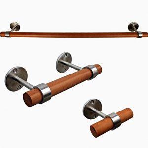 Modern Living Bathroom Hardware Fixture Accessory Set (Bath Towel bar, Toilet Paper Holder, Hand Towel Holder) (Silver/Light Wood)