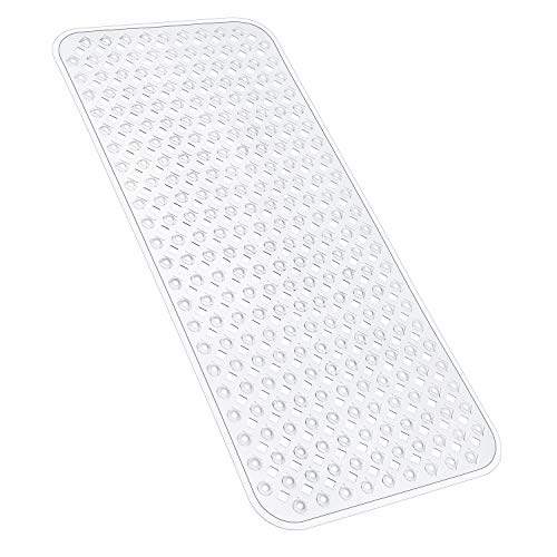 YINENN Bath Tub Shower Mat 35x15.5 Inch Non-Slip and Phthalate Latex Free,Bathtub Mat with Suction Cups,Machine Washable XL Size Bathroom Mats with Drain Holes (Clear)