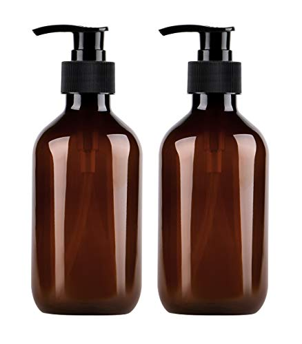 Yebeauty Pump Bottles, Shampoo Bottles with Pump 10oz/300ml Plastic Shampoo Bottles with Pump, Pack of 2