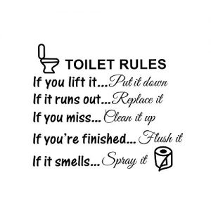 Toilet Rules Bathroom Decals Removable Wall Quotes Stickers Vinly Art Decor Home Decorations