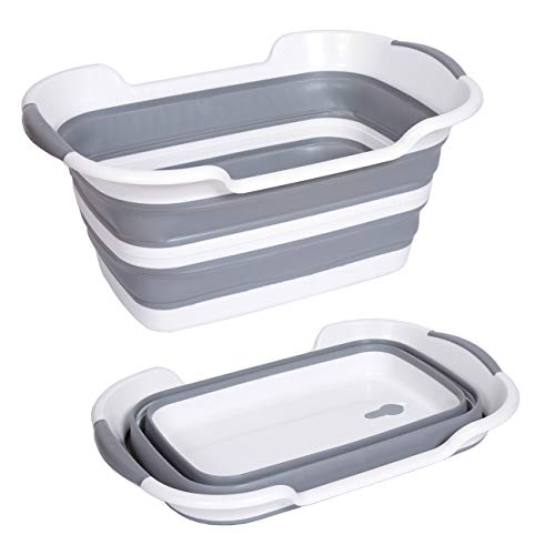Baby Bathtub, Pet Bath Tubs Portable Washing Tub with Drainage Hole Foldable Multifunction Collapsible Plastic Laundry Basket Shower Basin Folding (Grey) FBST-1