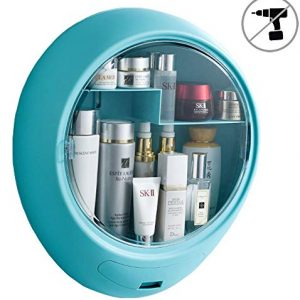 YeTrini Cosmetic Organizer for Bathroom,No Drilling Wall Mount Makeup Organizer,Dustproof & Waterproof Cosmetics Display Cases,Makeup Storage Box,Clear-Blue