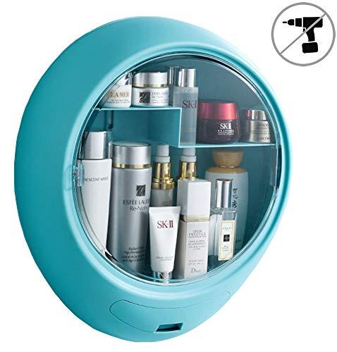 YeTrini Cosmetic Organizer for Bathroom,No Drilling Wall Mount Makeup Organizer,Dustproof & Waterproof Cosmetics Display Cases,Makeup Storage Box,Clear-Blue