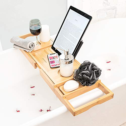 Bath Caddy Tray for Tub: Bamboo Bathtub Tray Caddy Expandable with Wine Glass Holder and Book Stand. Luxury Bubble Bath Accessories & Spa Decor. Self Care Gifts for Women, Birthday Gift for Mom.