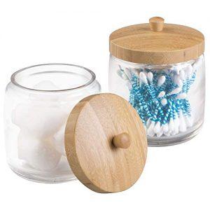 mDesign Glass Bathroom Vanity Storage Organizer Canister Jar for Cotton Balls, Swabs, Beauty Blenders, Makeup Sponges, Bath Salts, Hair Ties, Jewelry, 2 Pack - Clear Jar/Natural Bamboo Wood Lid
