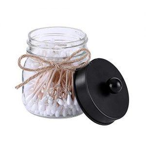 Elwiya Mason Jar Qtip Holder Premium Glass with Stainless Steel Lid, Rustic Mason Jar Cotton Ball / Swabs / Rounds Holder Farmhouse, 1 Pack Mason Jar Decor Bathroom Vanity Storage Organizer