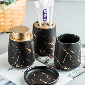 Stimmt Marble Pattern Bathroom Accessories Set, 4 Piece Ceramic Bath Accessory Complete Set Luxury Bath Accessory with Soap Dispenser, Toothbrush Holder, Tumbler, Soap Dish (Matte Black)