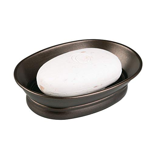 "iDesign York Countertop Bar Soap Dish, Metal Soap Holder for Bathroom, Shower, Vanity, 3.87"" x 5.5"" x 1.4"", Bronze"