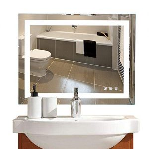 36×28in. Dimmable Led Illuminated Bathroom Mirror with Bluetooth Speaker Led Lighted Wall Mounted Bathroom Vanity Mirror with Touch Button&Anti-Fog| Hangs Vertically or Horizontally