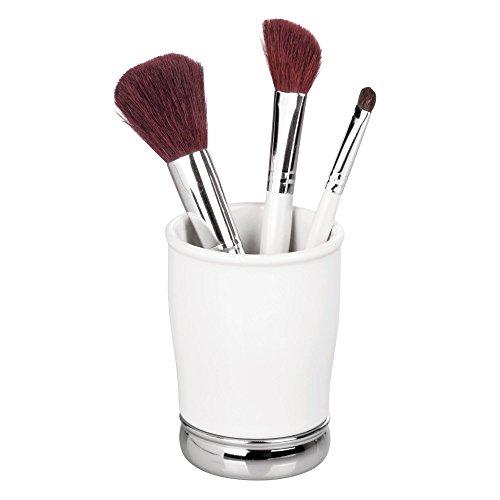 "InterDesign York Ceramic and Metal Tumbler, Makeup Brush Toothbrush Holder Cup for Bathroom, Countertop, Desk, Dorm, College, and Vanity, 3.25"" diameter x 4.25"", White and Chrome"