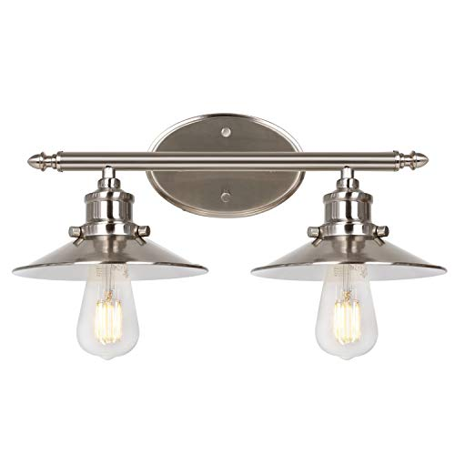 Hykolity 2-Light Retro Vanity Light, Brushed Nickel Bathroom Light Fixtures with Metal Shades, Sconce Wall Lighting for Bedroom, Powder Room and Hallway, ETL Listed