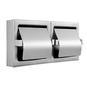 Pack of 1 - Heavy Duty Horizontal Two Roll Hooded Commercial Toilet Paper Holder - Stainless Steel - Satin Finish - Surface Mount - Holder Dimensions: 12-3/8 Inch x 6-1/2 Inch x 3 Inc