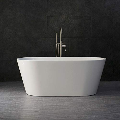"Woodbridge 59"" Acrylic Freestanding Bathtub Contemporary Soaking Tub with Brushed Nickel Overflow and Drain B0014B,White"