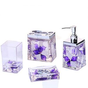 4 Piece Bathroom Accessories Complete Set Acrylic Bath Ensemble with Soap/Lotion Dispenser,Toothbrush Holder,Tumbler,and Soap Dish 3D Floating Motion Bathroom Gift Set Bathroom Decor (Purple)