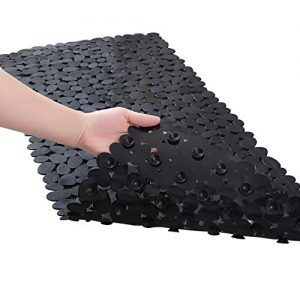 "Fomoom 27""x14"" - Black - Non Slip Bathtub Mat, Pebbles Shower Bath Mat, Bath Tub Mats with Drain Holes, Suction Cup"