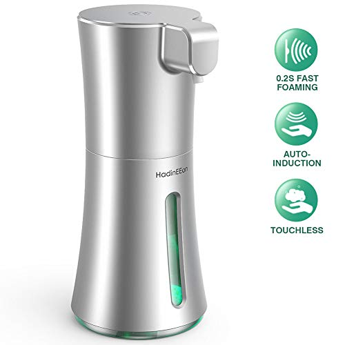 HadinEEon Soap Dispenser Automatic, Foaming Soap Dispenser Touchless 350ml/12oz, Battery Operated Hand Free Automatic Foam Liquid Soap Dispenser for Bathroom or Kitchen