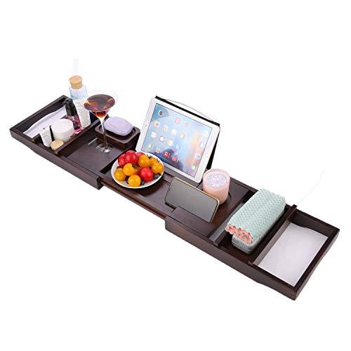 BATHWA Extendable Bamboo Bathtub Trays Caddy Bathroom Wine Glass Tray for tub Bath Shower Rack Tablet Holder Tray Caddy