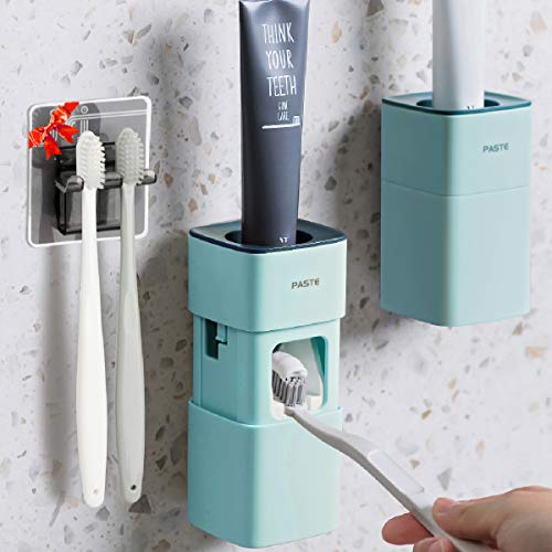 Toothpaste Dispenser, 2020 Upgraded Version Toothpaste Squeezer with Toothpaste Holder, Dustproof Wall Mounted Hand Free Automatic Toothpaste Dispenser for Famliy Washroom Bathroom (Blue)