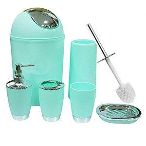 SOELAND 6 PiecesBathroom Accessories Set Plastic Luxury Bath Vanity Countertop Accessories Sets, Toothbrush Holder,Toothbrush Cup,Soap Dispenser,Soap Dish,Toilet Brush Holder,Trash Can (Mint Green)